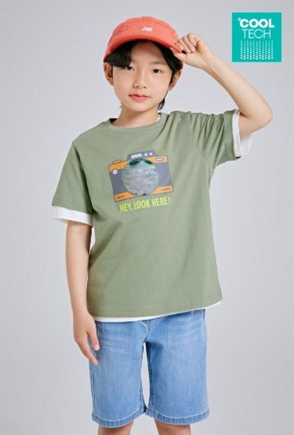 [COOLTECH] [키즈] 그래픽 반팔 티셔츠(KHAKI)_SPRAB25KB1 오퍼, 7900원