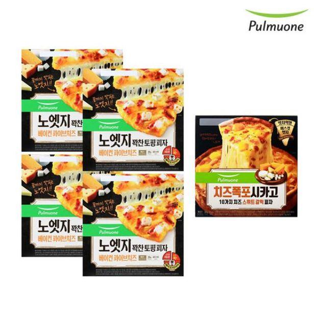 노엣지 피자 파이브치즈 4판+시카고 치즈스위트 갈릭 1판 오퍼, 37400원