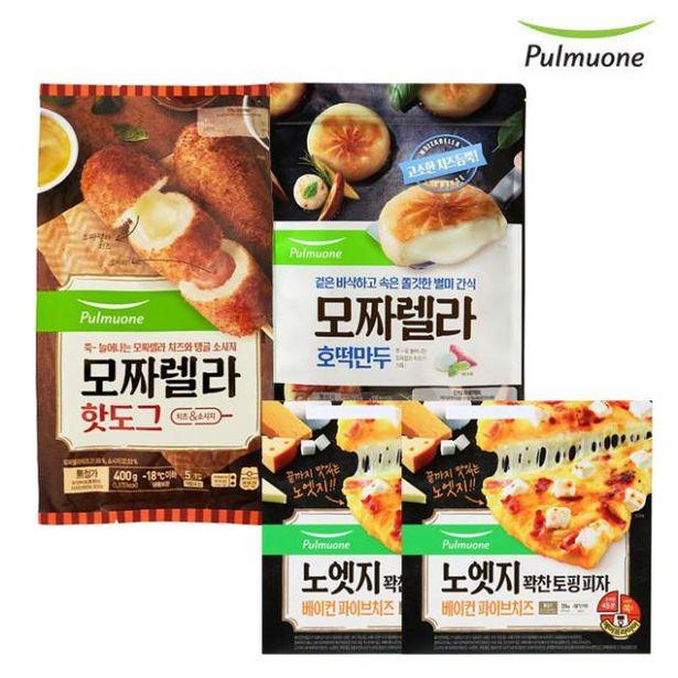 치즈 모음전 (모짜렐라 호떡만두1봉+파이브치즈 노엣지피자 2판+모짜렐라핫도그5입 오퍼, 29920원