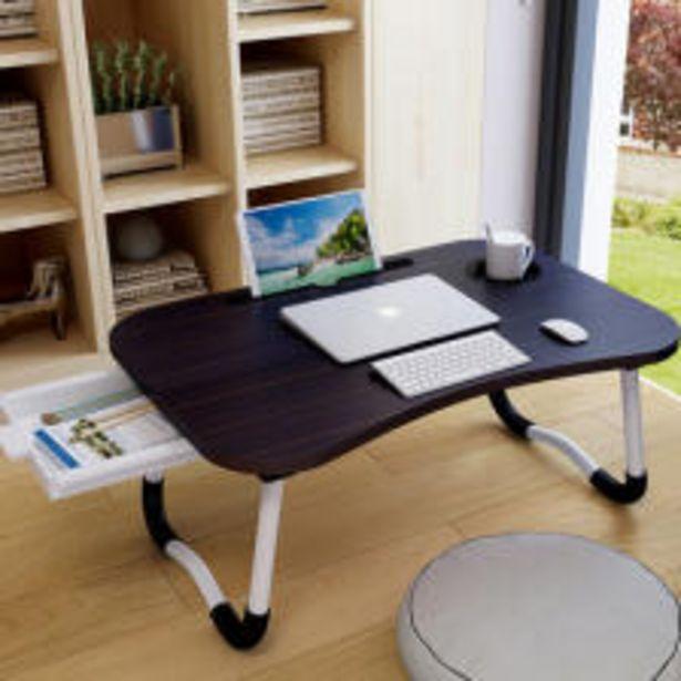 라이프프라임 LS204 우드블랙 서랍형 접이식 베드테이블 다용도 좌식테이블 노트북 컵홀더 보조책상 오퍼, 11500원